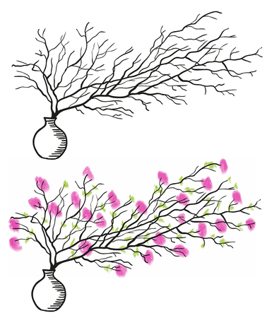 흰색 꽃병에 꽃과 나뭇 가지, 낙서 일러스트