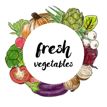 Types of fresh vegetables in the circle, doodle and painting style