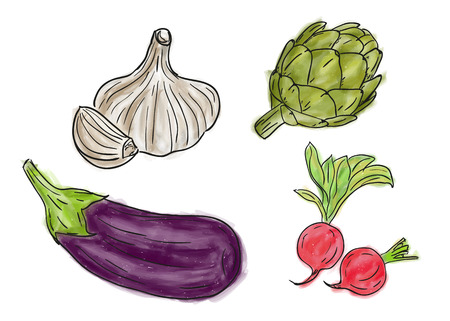 Types of farm fresh healthy vegetables, doodle and painting style Ilustracja