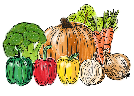 Types of fresh healthy vegetables, still life painting