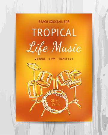 해변 파티 전단지. 클럽 음악 콘서트 포스터입니다. DJ 라인업 디자인. 벡터 템플릿입니다. 일러스트
