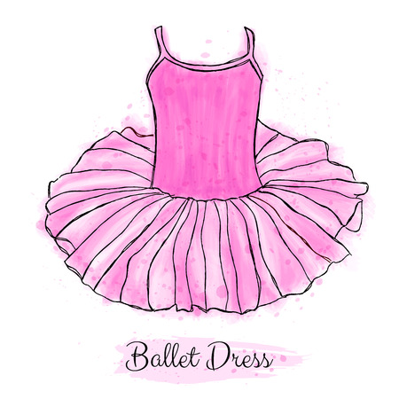 Pink ballerina tutu dress. Classic performance ballet dance dress. Hand drawn art work isolated on white background.