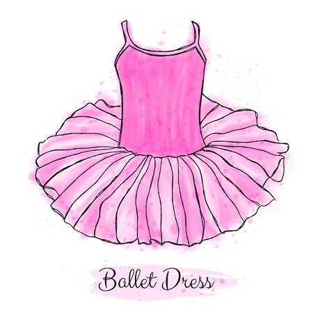 Pink ballerina tutu dress. Classic performance ballet dance dress. Hand drawn art work isolated on white background.