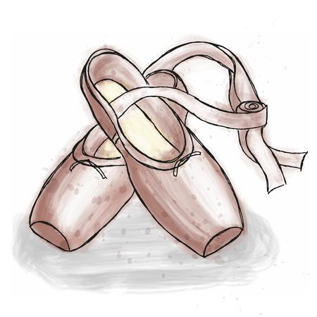 Roze ballerina schoenen. Ballet pointe schoenen met lint. Hand getrokken kunstwerk geïsoleerd op witte achtergrond.