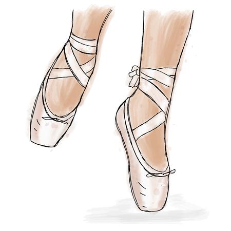 Zapatos rosados ??de la bailarina. Zapatos del pointe del ballet con la cinta. Mano dibujado trabajo de arte aislado sobre fondo blanco. Foto de archivo - 84068030