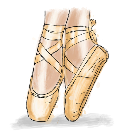 Pink ballerina shoes. Ballet pointe shoes with ribbon. Hand drawn art work isolated on white background.