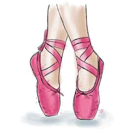 Scarpe da ballerina rosa. Scarpe da punta da ballo con nastro. Opera d'arte disegnata a mano isolato su sfondo bianco. Archivio Fotografico - 84068033
