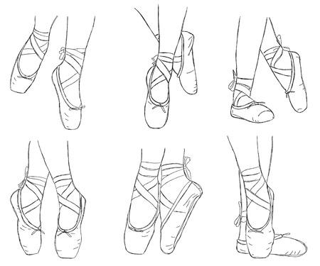 핑크 발레리나 신발. 리본 발레 pointe 신발입니다. 손으로 그린 된 아트 작품에 격리 된 흰색 배경.