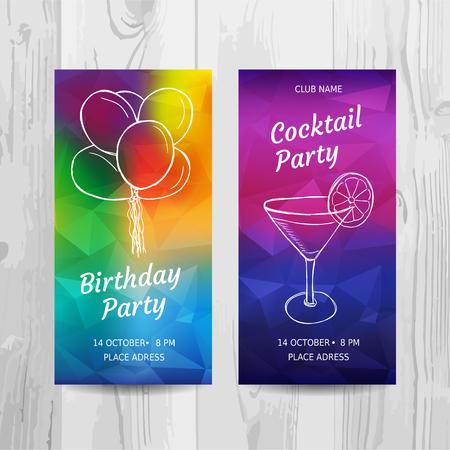 생일 파티 초대장 카드. 칵테일 파티 전단지. 벡터 템플릿입니다. 일러스트