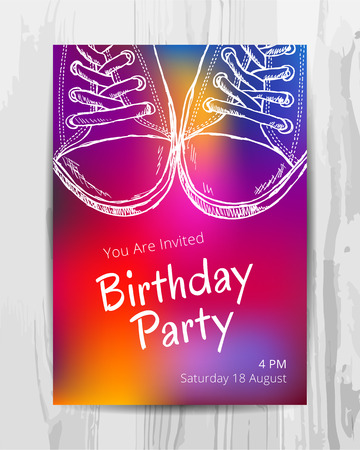 Birthday party invitation card. Multicolored teenage party flyer. Vector template.