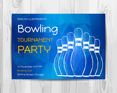 drawing pin: Bowling party invitation card. Sport tournament flyer.Vector template. Illustration