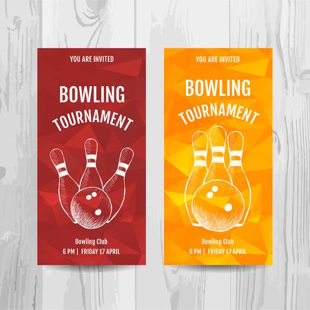 볼링 파티 초대 카드입니다. 스포츠 대회 전단지입니다. 벡터 템플릿입니다.