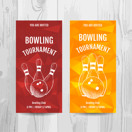 Bowling party invitation card. Sport tournament flyer.Vector template. Ilustracja