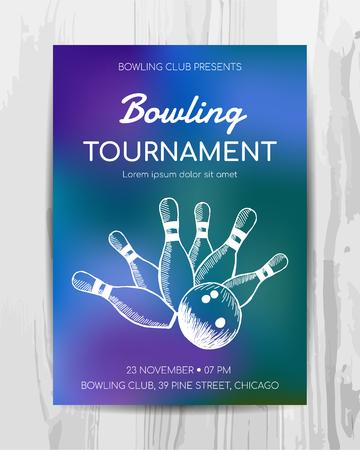 Bowling party uitnodigingskaart. Sporttoernooi flyer. Vector sjabloon.