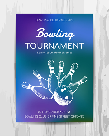 Bowling party invitation card. Sport tournament flyer.Vector template. Illustration