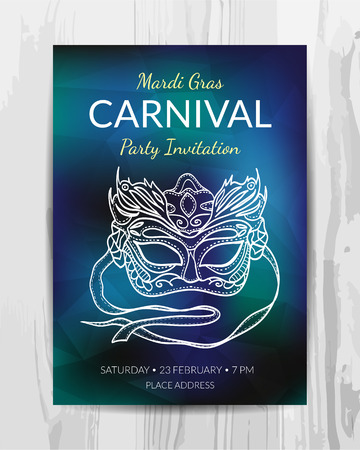Carnival party invitation card. Mardi Gras party flyer. Vector template. Zdjęcie Seryjne - 84140814