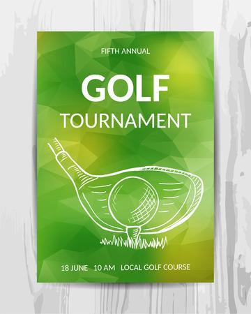 골프 파티 초대장 카드. 스포츠 토너먼트 전단지. 벡터 템플릿입니다.
