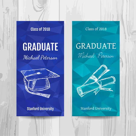 Graduation party invitation card. Low poly graduation party flyer. Vector template. Ilustracja