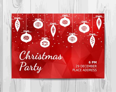 크리스마스 파티 초대장 카드입니다. 빨간 크리스마스 파티 전단지. 벡터 템플릿입니다.