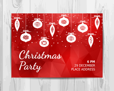 Christmas party invitation card. Red Christmas party flyer. Vector template. Ilustracja
