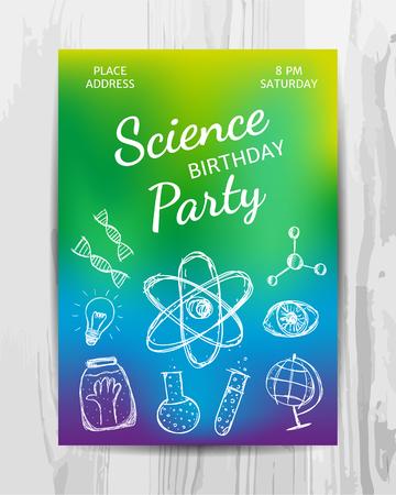 생일 파티 초대장 카드. 여러 가지 빛깔 된 과학 파티 전단지입니다. 벡터 템플릿입니다.
