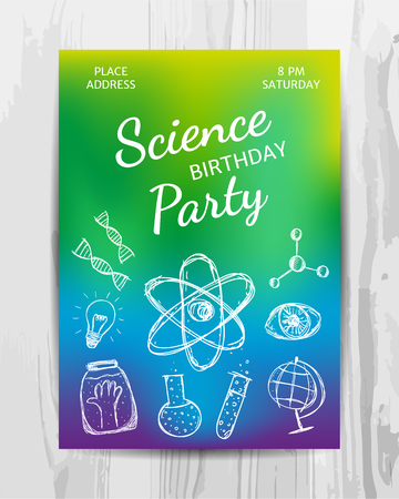 Birthday party invitation card. Multicolored science party flyer. Vector template. Фото со стока - 84140818