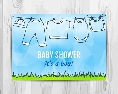 아기 소년 샤워 초대 카드입니다. 아기 파티 전단지. 벡터 템플릿입니다.