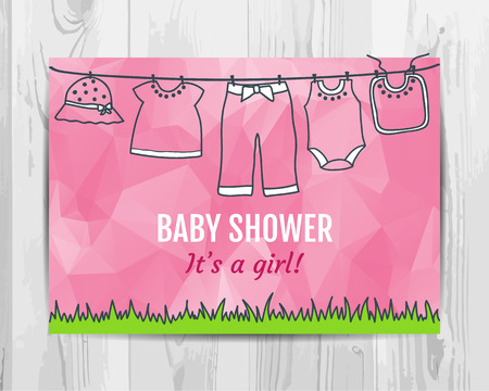 Baby girl shower invitation card. Baby party flyer. Vector template.