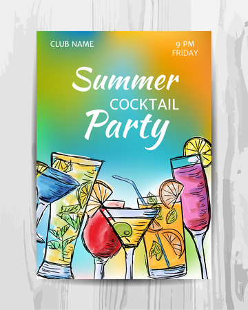 Summer party invitation card. Cocktail party flyer. Vector template.