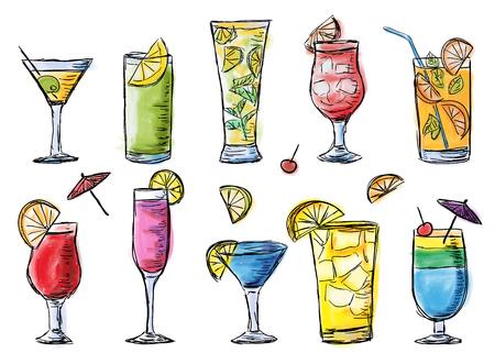 Illustratie van tropische exotische cocktails. Veelkleurige zomertijdcocktails. Doodle stijl vector.