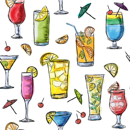 Illustration of tropical exotic cocktails. Multicolored summer time cocktails. Seamless pattern.
