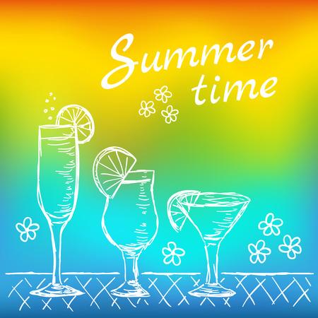 열 대 이국적인 칵테일의 그림입니다. 여러 가지 빛깔 된 여름 시간 칵테일입니다. 낙서 스타일 벡터.