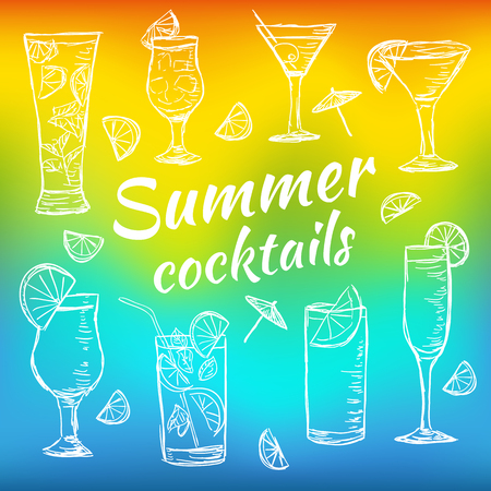 Illustration of tropical exotic cocktails. Multicolored summer time cocktails. Doodle style vector.