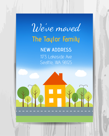 환영 파티 초대 카드. 새로운 가정 파티 용 전단지. 벡터 템플릿입니다.