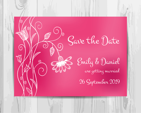 Save the date invitation card. Valentine party flyer. Vector template.