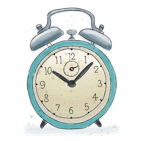 Alarm clock colored doodle. Watercolor painting.