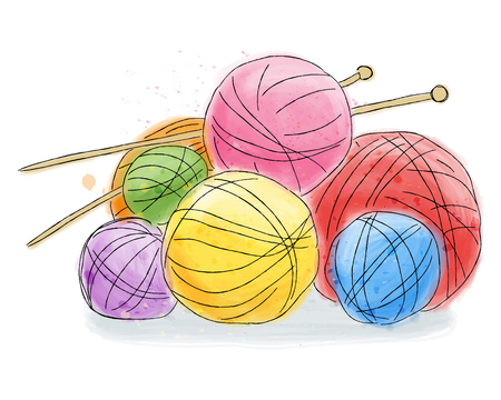 Ball of wool with pins, doodle watercolor painting