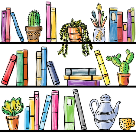 Book shelf seamless pattern, colored illustration