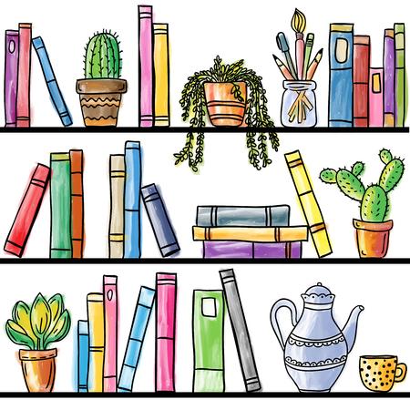 Book shelf seamless pattern, colored illustration