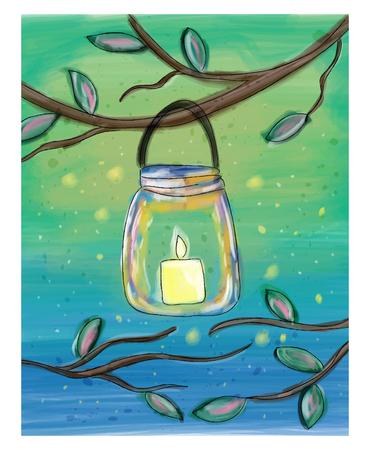 메이슨 항아리에 수채화 낙서 그림에서 촛불 일러스트