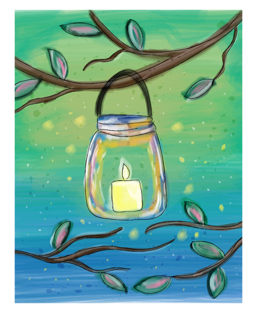 Candle in the mason jar watercolor doodle illustration