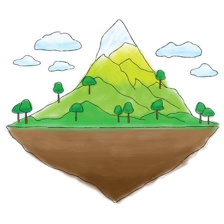 떠있는 섬 산 낙서, 수채화 삽화 일러스트