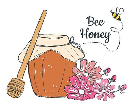 Miel avec des fleurs doodle, illustration aquarelle Banque d'images - 84589269