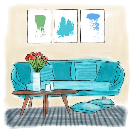 Living room colored painting, watercolor doodle Illustration