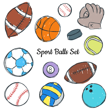 Sport ball doodle set, colored illustration