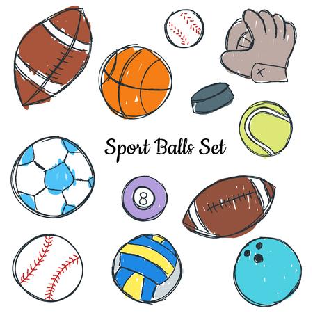 Sport ball doodle set, colored illustration