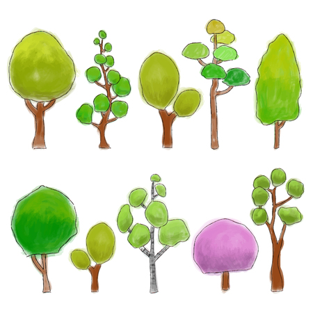 Different types of colored cartoon trees, watercolor illustration