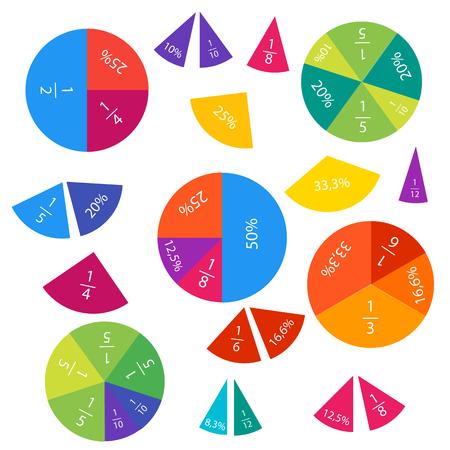 Ilustración de vector de fracciones matemáticas y porcentajes en círculos y piezas