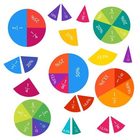 Vector illustration of mathematical fractions and percentages in circles and pieces