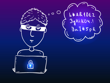 Young hacker boy with laptop stealing data - security doodle Ilustracja